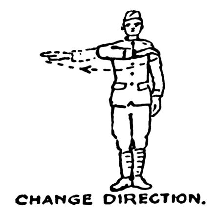 Change Direction is the command used to instruct the unit to change direction, vintage line drawing or engraving illustration.