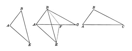 An image that shows three triangles. These three triangles used to compare sides, vintage line drawing or engraving illustration. Stock Illustratie