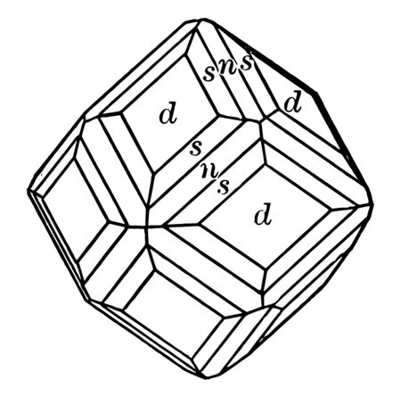 The projection combination dodecahedron, and hexoctahedron trapezohedron, vintage line drawing or engraving illustration.