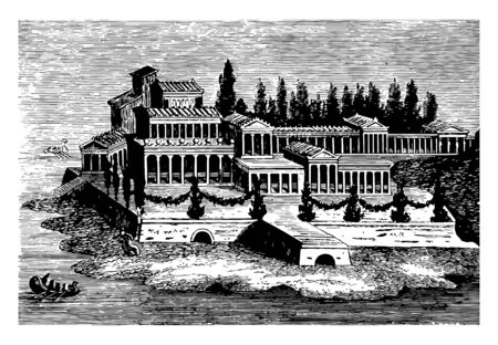 This is the beautiful image of the Roman villa. It is a fresco painting of a Roman villa. There is a larger palace along with trees. Crossing the palace there is a sea, vintage line drawing or engraving illustration.