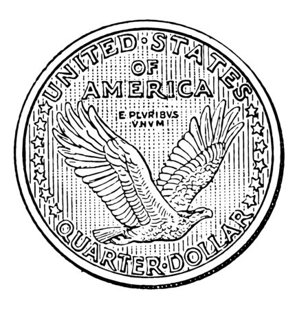 America is showing a piece of twenty-five cent with the reverse side of the Flying Eagle of Coins, vintage line drawing or engraving illustration.