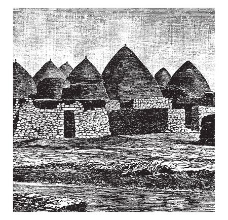 Village de Syrie à la fin des années 1800 dans le pays de Syrie, dessin de ligne vintage ou illustration de gravure. Vecteurs
