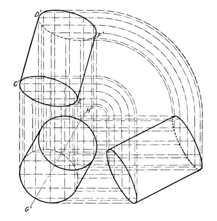 The image shows the three-axis plane Projection of the cylinder. It is a graphic layout of projections to build a cylinder from the base of the cylinder and is inclined, vintage line drawing or engraving illustration.