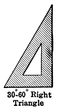 Image showing a triangle right grade 30-60-90, vintage line drawing or engraving illustration.