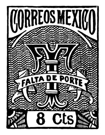 This stamp contain image written with Falta de porte vintage line drawing.