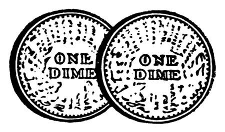The dime coin United States usage, it is ten cents. This is one of the United States Dollar. In this picture, there are two Dimes the cost is twenty cents, vintage line drawing or engraving illustration. 向量圖像