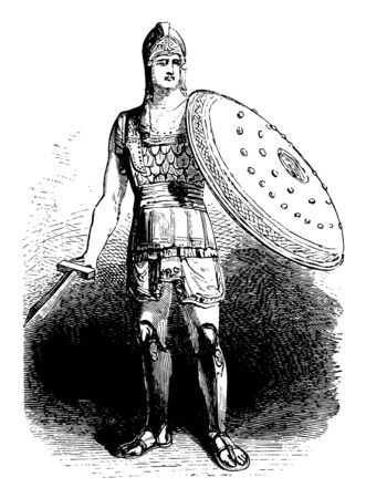 Arms and Armor are equipped with a dense breastplate, vintage line drawing or engraving illustration. 向量圖像