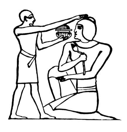 Anointing a guest was a ritual act of pouring an oil over the head, vintage line drawing or engraving illustration. Stock Illustratie