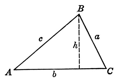 The image shows the triangle ABC with height h and its sides are labeled with lowercase letters a, b, c and height h that are shown with a dotted line, vintage line drawing or engraving illustration.
