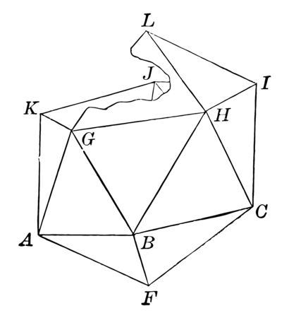 The base consists of a regular pyramid, in which equilateral triangles are inserted to form the next section of the icosahedron, followed by another pyramid, vintage line drawing or engraving illustration. 向量圖像