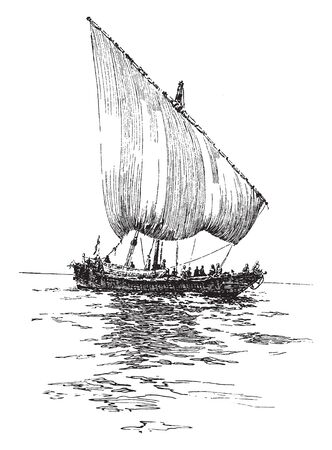 Slave Dhow is the generic name of a number of traditional sailing vessels with one or more masts with lateen sails used in the Red Sea and Indian Ocean region, vintage line drawing or engraving illustration.