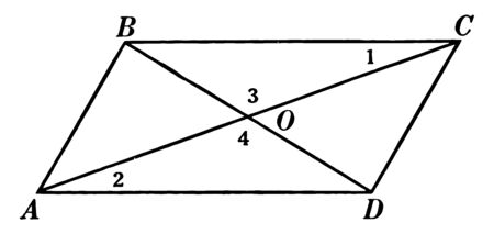 An image that shows a parallelogram. In this parallelogram two diagonals AC and BD are drawn, vintage line drawing or engraving illustration.
