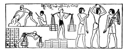 Illustration of the Jews subjected to forced labor and captivity, vintage line drawing or engraving illustration.