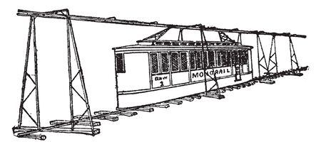 Tunis Monorail system designed by Howard H Tunis was used on the Pelham Park and City Island Railroad in the Bronx, vintage line drawing or engraving illustration.