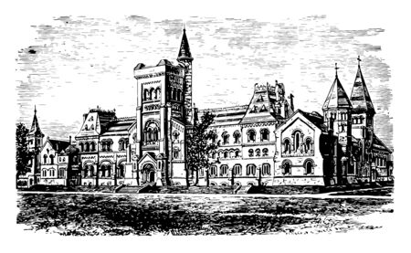 University of Toronto, 1901 is first institue of higher learning in upper Canada, excels in geography, sports, anatomy, physiology etc. It is public research university vintage line drawing.