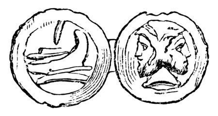 A coin that has an image of two heads together, vintage line drawing or engraving illustration.