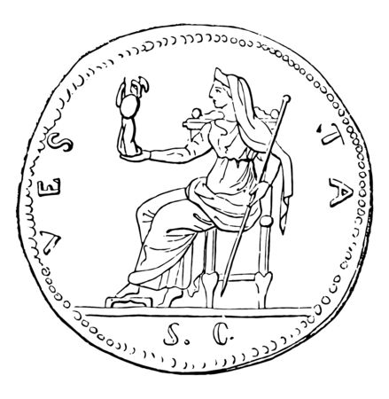 A queen sitting on a chair and holding something with human form in one hand and a rod representing imperial power in another hand, vintage line drawing or engraving illustration. 일러스트