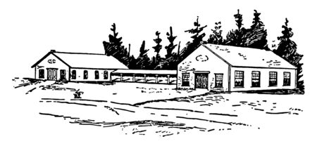 These are three buildings with constitutions hills in Toronto.It is palin, gabbled and two storey building. Built in 1829-32 it has no proper structure of toilet and leaking roofs, hence no safety for documents vintage line drawing.