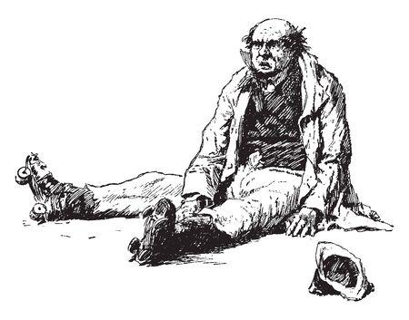 A man with roller skates sitting, vintage line drawing or engraving illustration