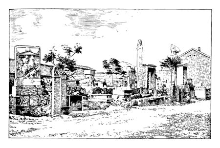A place filled with Athenian tombs, vintage line drawing or engraving illustration. Иллюстрация
