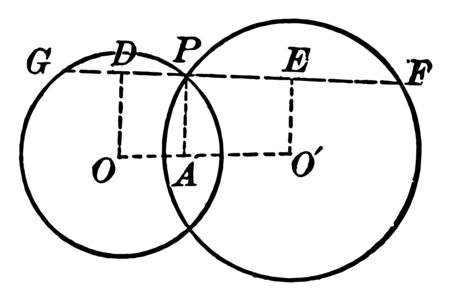 A diagram of circles that intersect with chords and radii drawn and labeled, vintage line drawing or engraving illustration. Ilustração