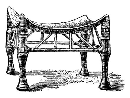 An Egyptian chair with a curve made of ivory and ebony, vintage line drawing or engraving illustration.