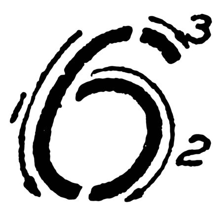 This is an image of how to write the inclined capital number 6 using the correct strokes, vintage line drawing or engraving illustration.