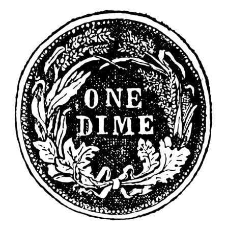 This coin is from the United States. This coin is made of silver. Ten percent is worth it, vintage line drawing or engraving illustration. Ilustração