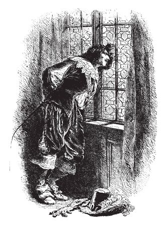 A man tapping on window glass with his fingers, vintage line drawing or engraving illustration Illustration