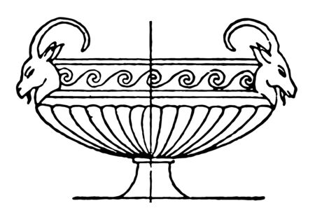 Krater from Thebes was used to mix water and wine, vintage line drawing or engraving illustration.