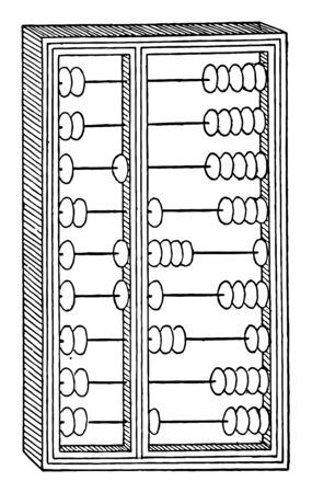 A Chinese device for making arithmetic calculations, consisting of a frame set with rods on which balls or beads are moved, vintage line drawing or engraving illustration.