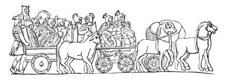 In this image there is a car that transports the products that the horses draw. There are many villages in that image, vintage line drawing or engraving illustration. Çizim