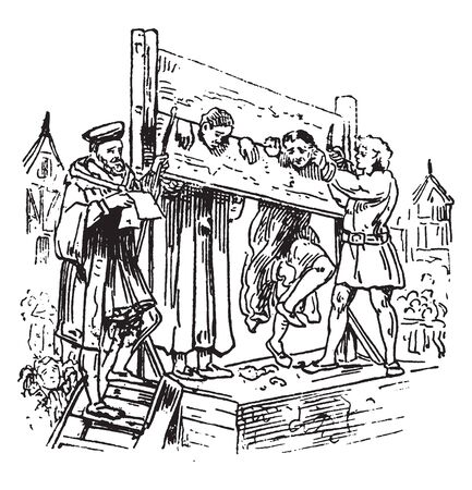 Pillory is a wooden framework with holes for the head and hands in which an offender was imprisoned and exposed to public abuse, vintage line drawing or engraving illustration.