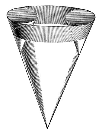 The image shows the three intersection cones. Two small cones are found in a large cone, vintage line drawing or engraving illustration.