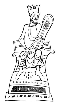 Crwth playing on the three stringed crwth, vintage line drawing or engraving illustration.