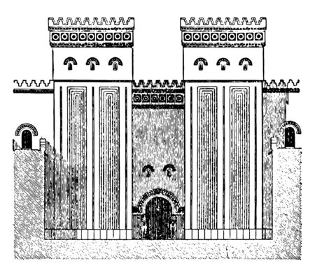 This image shows the entrance to the entrance. This is the gateway to the Khorsabad Palace, vintage line drawing or engraving illustration. Reklamní fotografie - 133047946