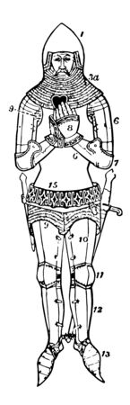 Armor is a protective covering that is used to prevent damage from being inflicted to an object, vintage line drawing or engraving illustration.