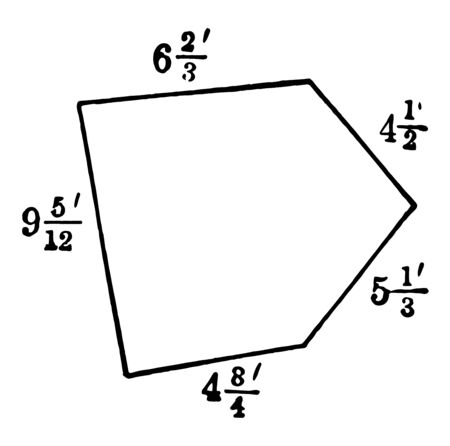 An image of the Pentagon with labeled sides. The diagram showing the measurement and the pentagonal sides, vintage line drawing or engraving illustration.