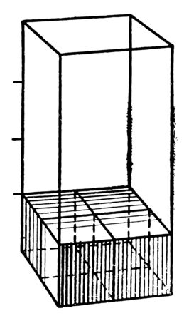 The image shows the volume of a square prism, vintage line drawing or engraving illustration.