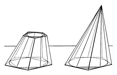 The image is of polygon symbols with a bound cone. It is shown, if the sides of the pyramid are tilted, then the volume of the cone is limited to the volume of the pyramid, vintage line drawing or eng