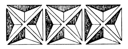 This is an image of Band Motif wood sculpting, vintage line drawing or engraving illustration.