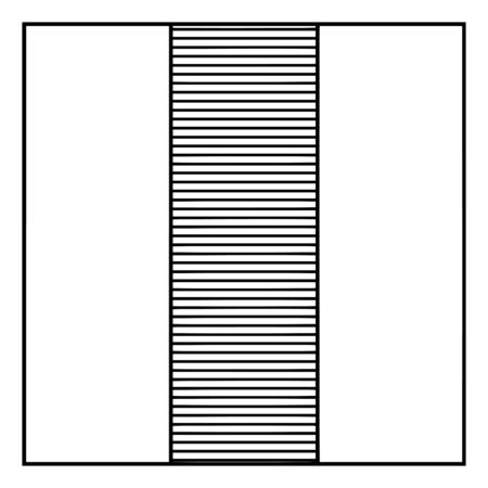 One of three equal of parts shaded to show one third. It is 13 unit, vintage line drawing or engraving illustration.