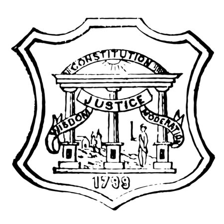 Georgia state seal is symbol of authority and sovereignty vintage line drawing. Çizim