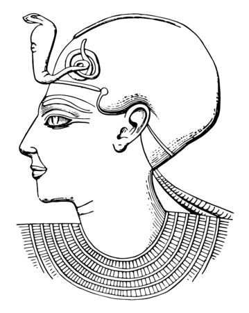 Pharaoh profile represented the monarchs of Ancient Egypt, vintage line drawing or engraving illustration. 向量圖像