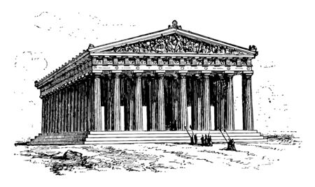 An image outside Parthenon, vintage line drawing or engraving illustration.