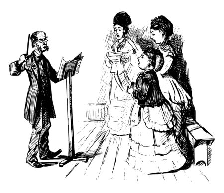 This image represents Female Choir with Male Director, vintage line drawing or engraving illustration. Reklamní fotografie - 133310040