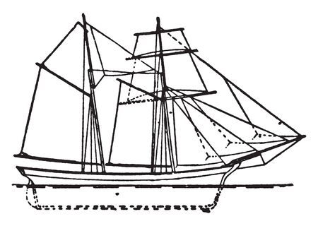 English Schooner is a sailing ship with two or more masts typically with the foremast smaller than the mainmast, vintage line drawing or engraving illustration.