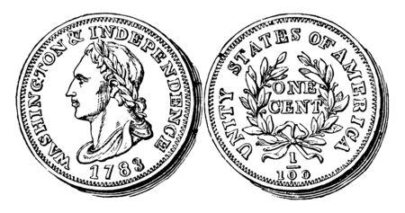 Dies ist die Kupfer-Cent-Münze aus den USA. Die Vorderseite zeigt ein Bild eines nach links gerichteten George Washington und die Rückseite zeigt einen Cent in der Mitte, eine Vintage-Linienzeichnung oder eine Gravurillustration.