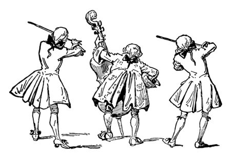 Three Men Playing String Instruments one playing the cello and two playing the violin, vintage line drawing or engraving illustration. Ilustrace