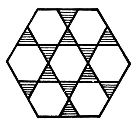 Large hexagon with interior design with adjacent sides. Triangular are shaded, vintage line drawing or engraving illustration. Illusztráció